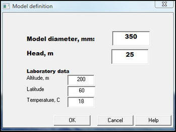 Alab model definition. Model diameter, head and laboratory data shown.